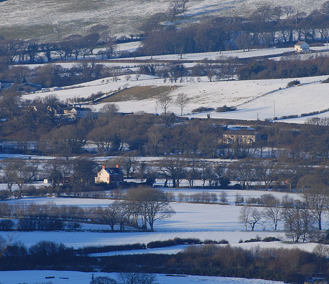 Fields south of Capel Bangor, under snow