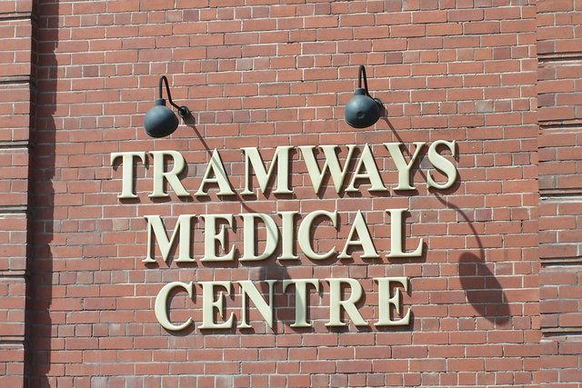 Tramways Medical Centre Sign, Holme Lane, Hillsborough, Sheffield