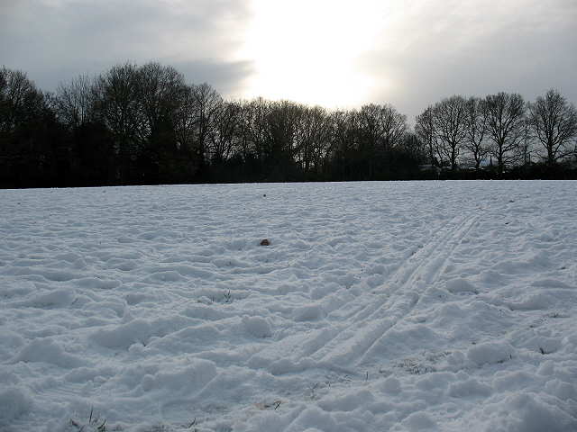 Sledge tracks on Walden Recreation Ground