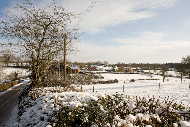 Houses and fields at Fritham in snow