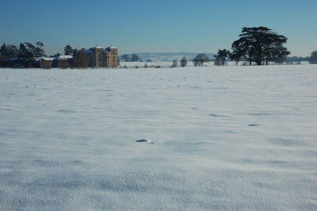 Croome Court in snow