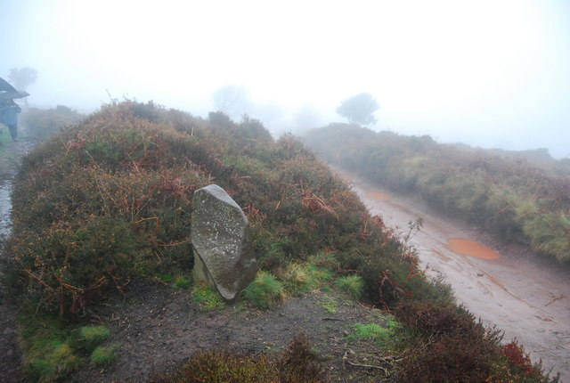Boundary stone at the track junction