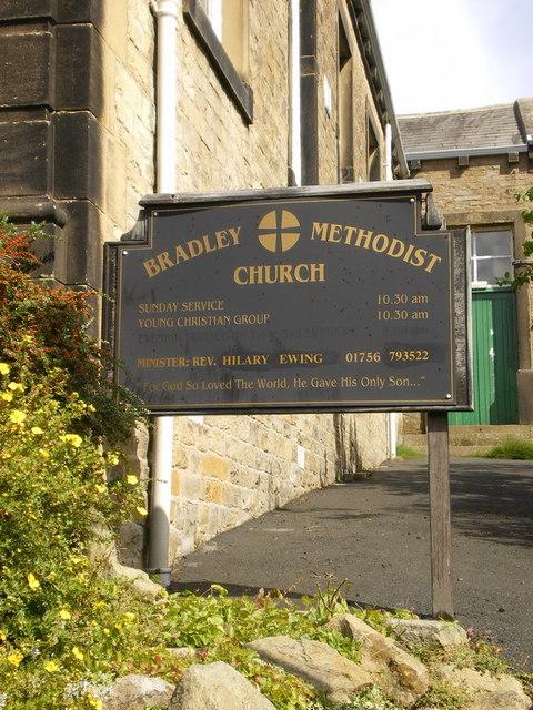 Bradley Methodist Church, Low Bradley, Sign