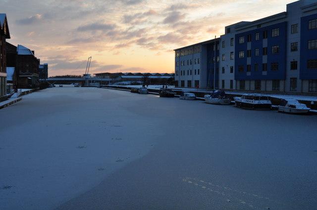 Gloucester Docks frozen