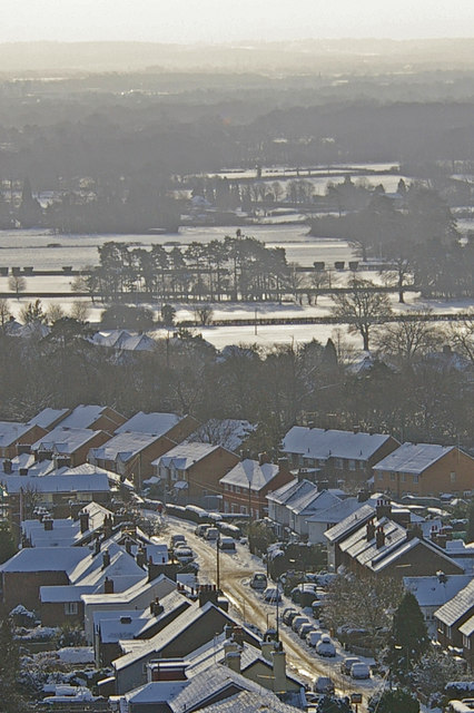 Eastnor Road and Stockton Road, Reigate, in snow