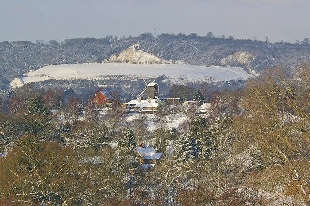 Reigate Heath Windmill in snow