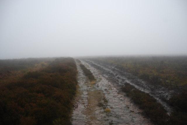 Track near Hurley Beacon in the mist