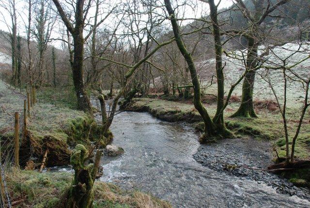 Afon Ceirig at the confluence with Nant-yr-Nele