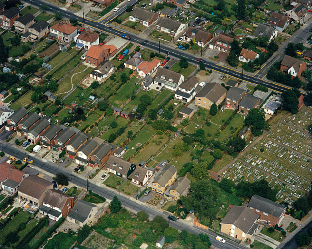 Aerial view of the High Road, Elm View Road and Benfleet Cemetery