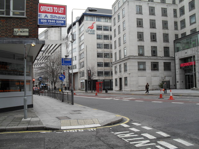 Looking from Old North Street into Theobald's Road