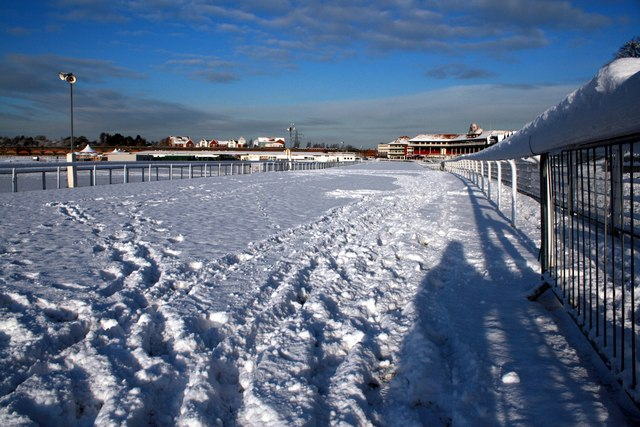 Chester Racecourse in the snow