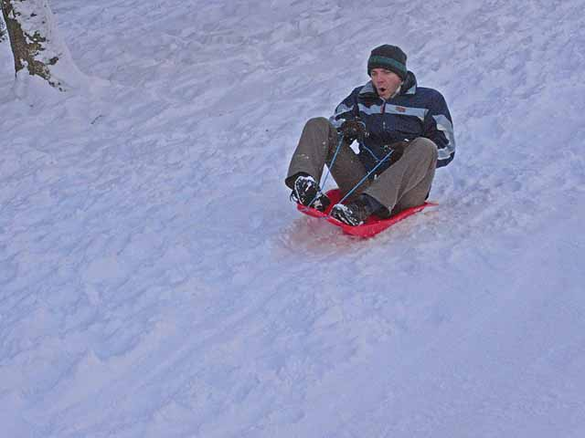 Tobogganing near Loughbrow House