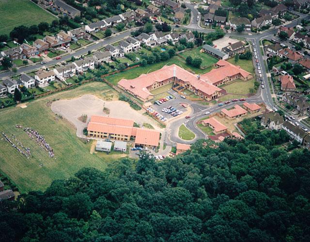 Aerial view of Westwood School and part of West Wood, Benfleet