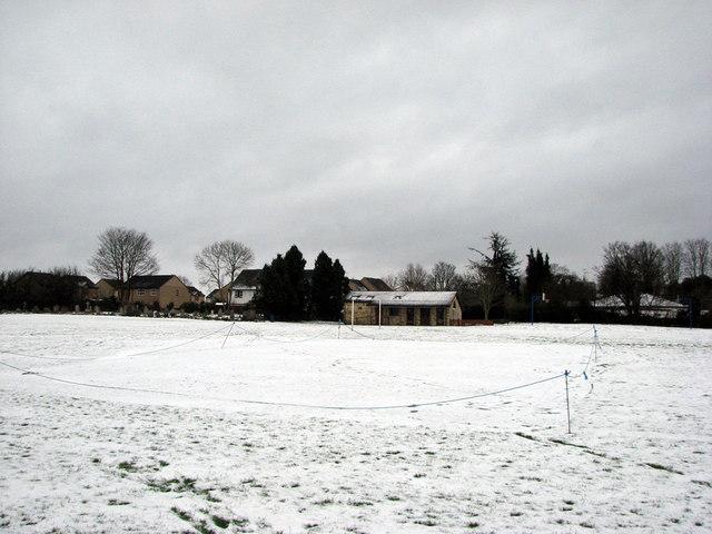 Fen Ditton Recreation Ground in the snow