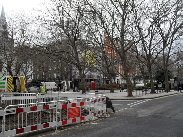 Looking from Boswell Street into Queen Square