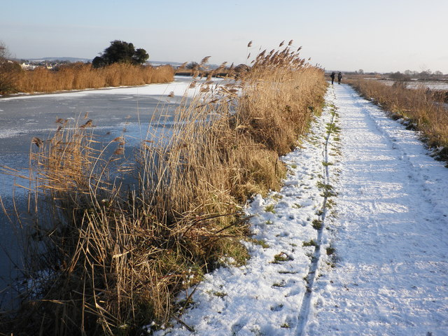 Exeter Canal towpath, in winter snow