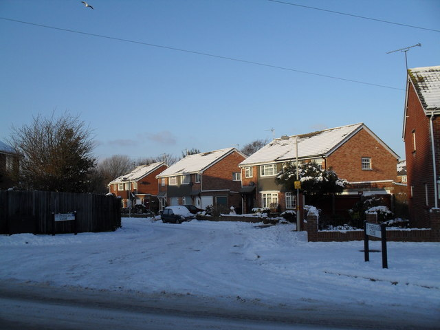 Looking from Park Lane into a snowy St Theresa's Close