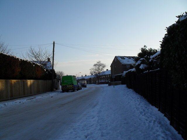 A snowy scene at the western end of Hazleholt Drive