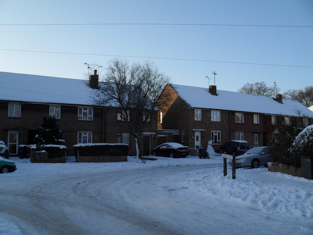 Looking from a snowy Awbridge Road into St John's Road