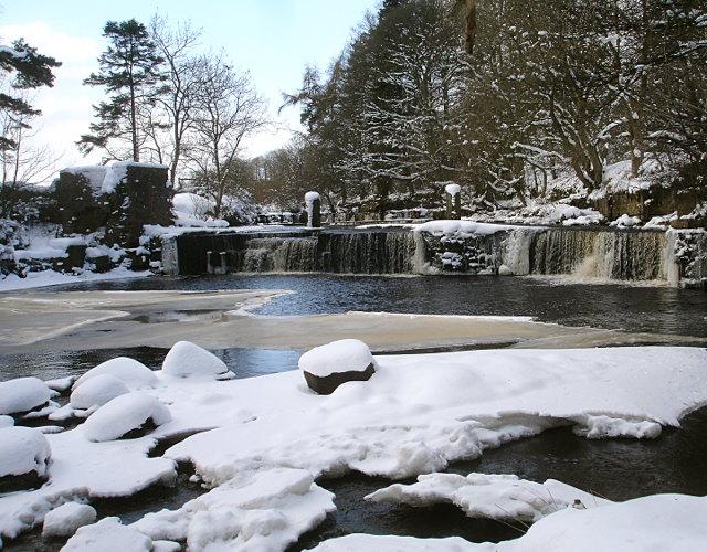 Mill falls in winter