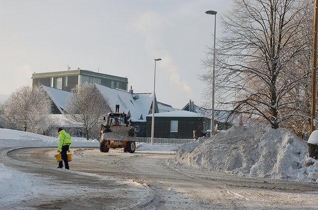 Snow clearing at Peebles High School