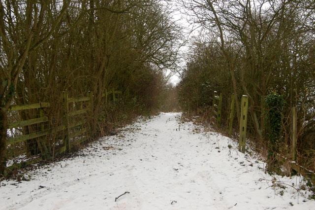 Bridleway at site of dismantled railway bridge, Tomlow