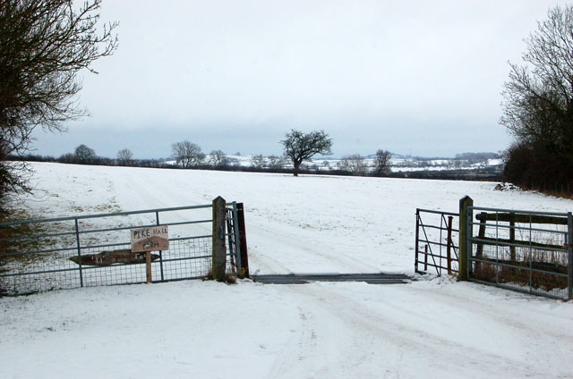 Entrance to Pike Hall Farm in the snow