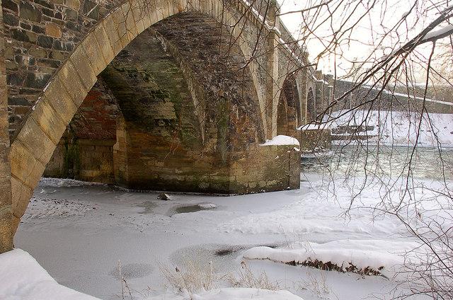 Partly frozen River Tweed at Peebles bridge