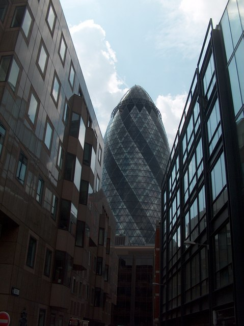 """View of  """"The Gherkin"""" from Clothier Street"""