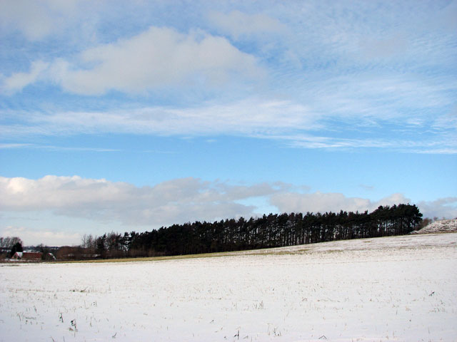 Snow-covered fields east of Stoke Road