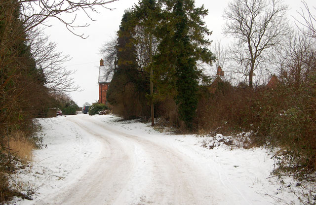 Snow-covered track to Croftlands, Broadwell