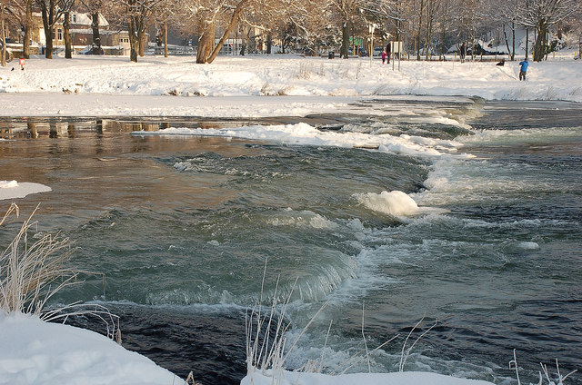 Water and ice at the weir, Peebles