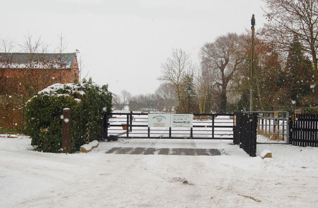 Snow-covered entrance to Broadwell House Farm