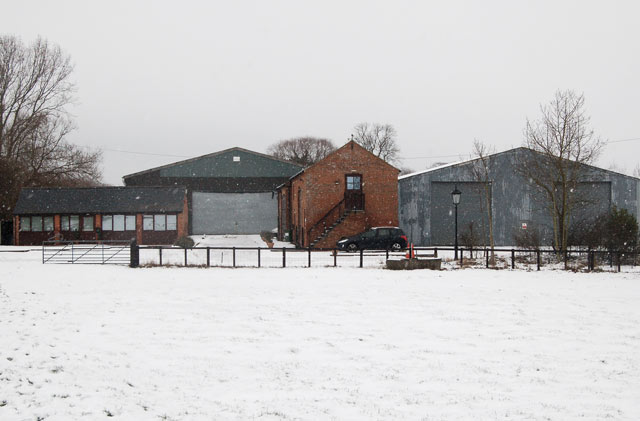 Snow falling at Broadwell House Farm