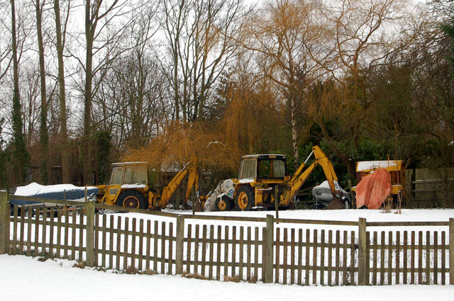 Diggers parked in the snow, Broadell