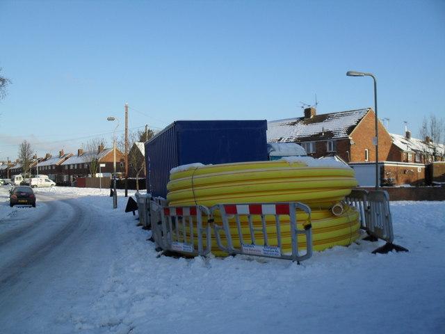 Giant rolls of tubing in Linkenholt Way