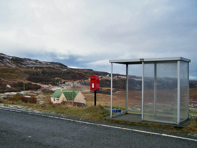 Post box and bus shelter