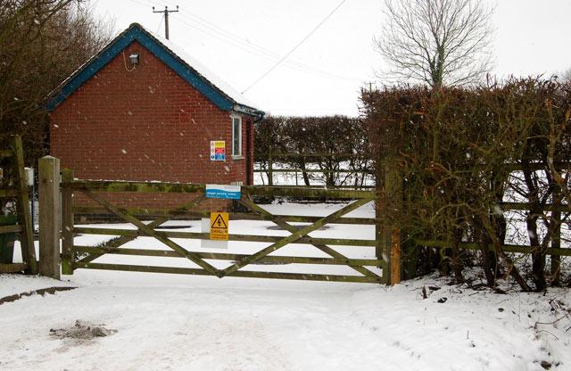 Broadwell sewage pumping station on a snowy day