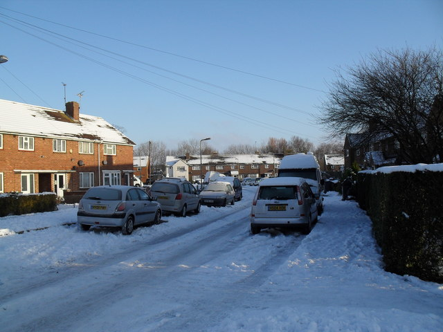 Looking north-east in a snowy Colbury Grove