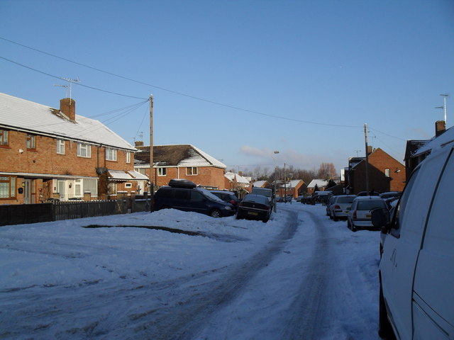 Mid section of a snowy Bransgore Avenue