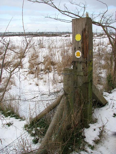 Footpath marker beside Boudica's Way