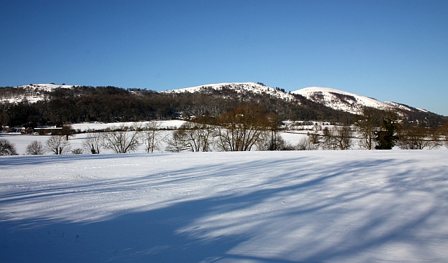 Fields of Little Malvern in the snow