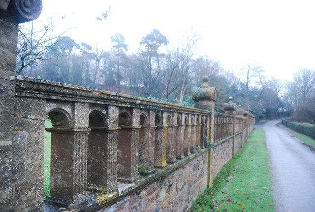 The front wall of the grounds of Halsway Manor