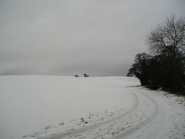 Fields near Hasketon in snow