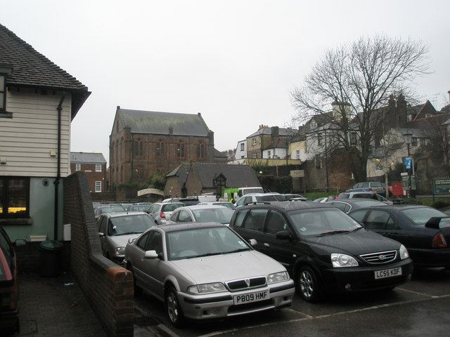 Town centre car park on a dull December day.