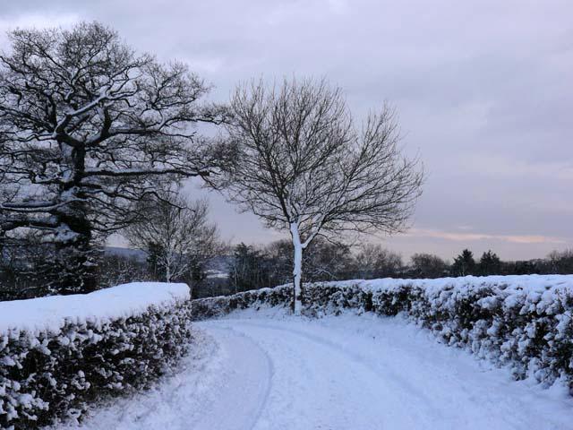 Farm track following heavy snow