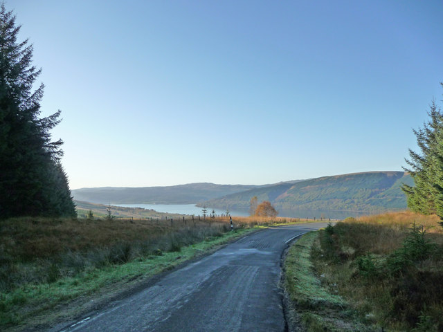 View towards Loch Fyne from road above Hell's Glen