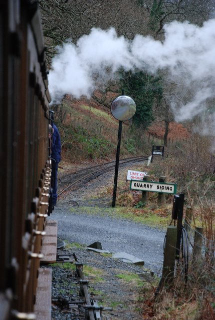 Down Talyllyn Railway train passing Quarry Siding
