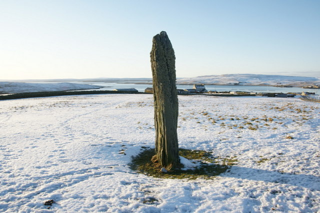 Clivocast standing stone in the snow
