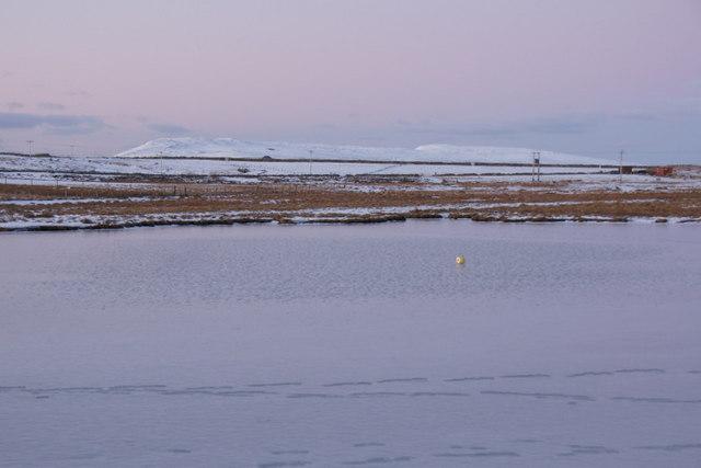 Frozen Wester Loch, Uyeasound, at dusk